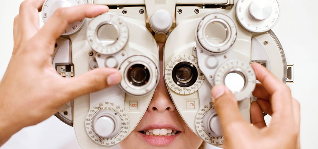 An optometrist assessing eye health for ACUVUE® contact lenses fitting, Singapore
